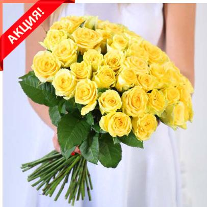 Букет 51 желтая роза Пенни Лейн акция