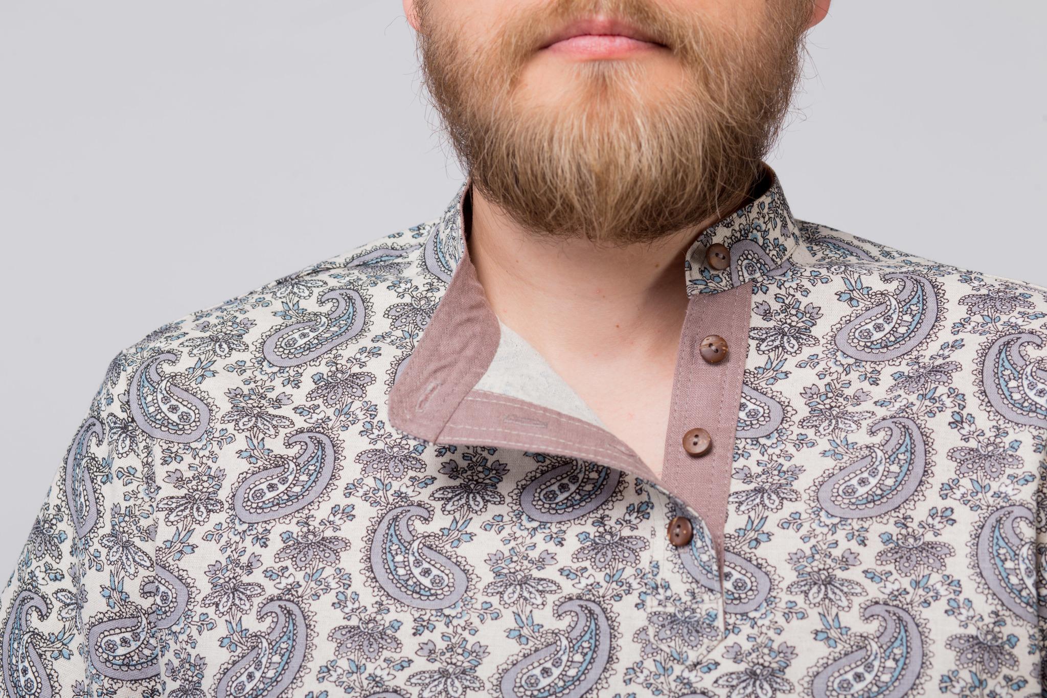 Рубашка льняная Огурцы приближенный фрагмент