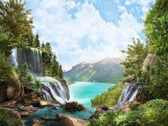 Картина раскраска по номерам 40x50 Водопад уходящий к облакам