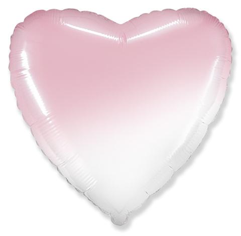 Шар сердце розовый, белый градиент, 45 см