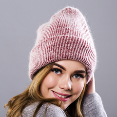 Вязаная женская шапка - колпак с отворотом, ангора (бордовая)
