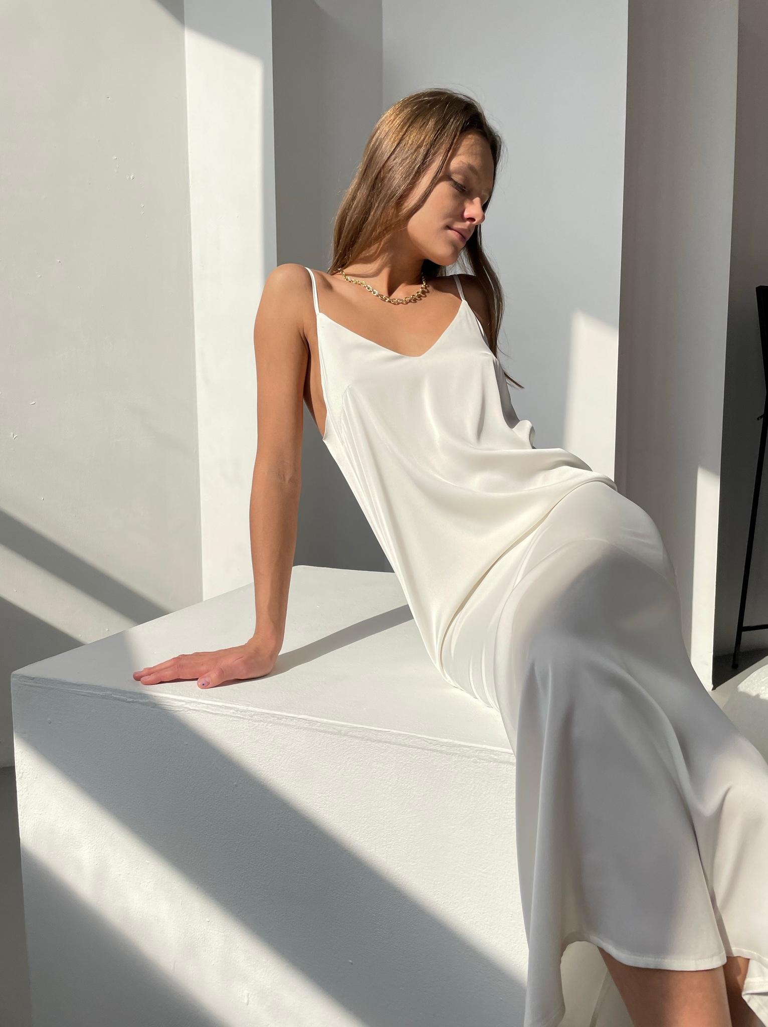 Шелковое платье комбинация (айвори)