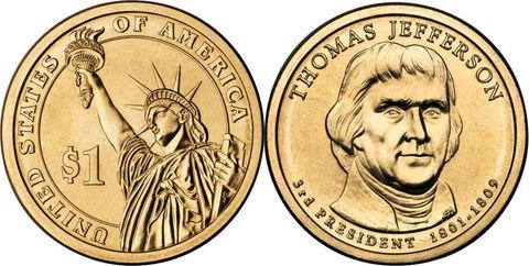 1 доллар 3-й президент США Томас Джефферсон 2007 год