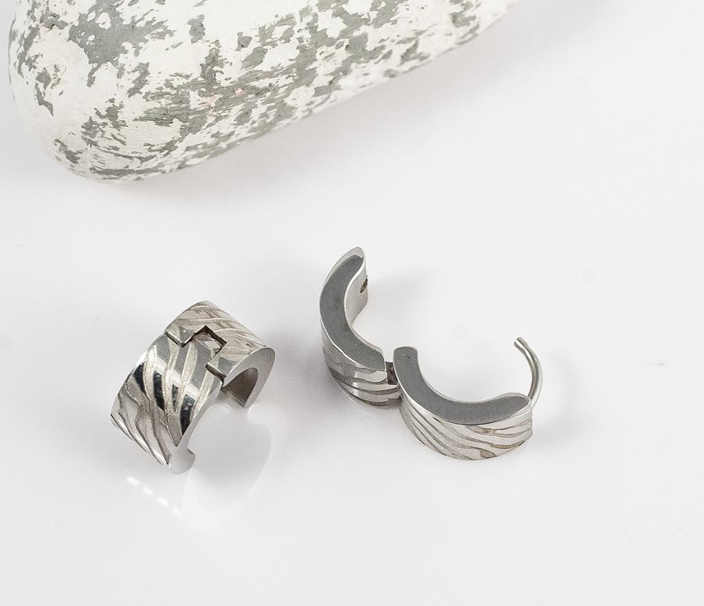 SE2715 Стальные мужские серьги кольца с гравировкой, «Spikes» фото 04