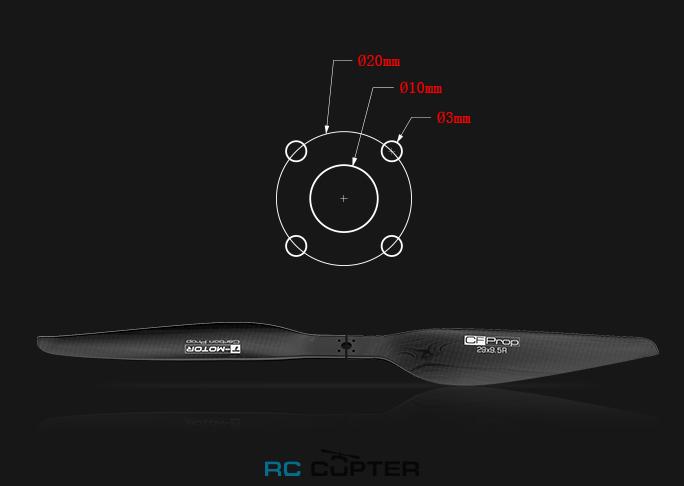 Размеры отверстий для карбонового составного пропеллера G 29 x 9.5 T-Motor