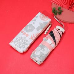 Маленький плоский зонт с защитой от УФ, 6 спиц, Япония (бежевый принт-цветы и птицы)