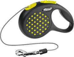 Поводок-рулетка Flexi Design XS (до 8 кг) 3 м трос черная/желтый горох