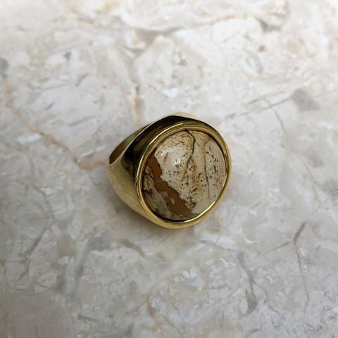 Кольцо Катара с бежевой вставочкой