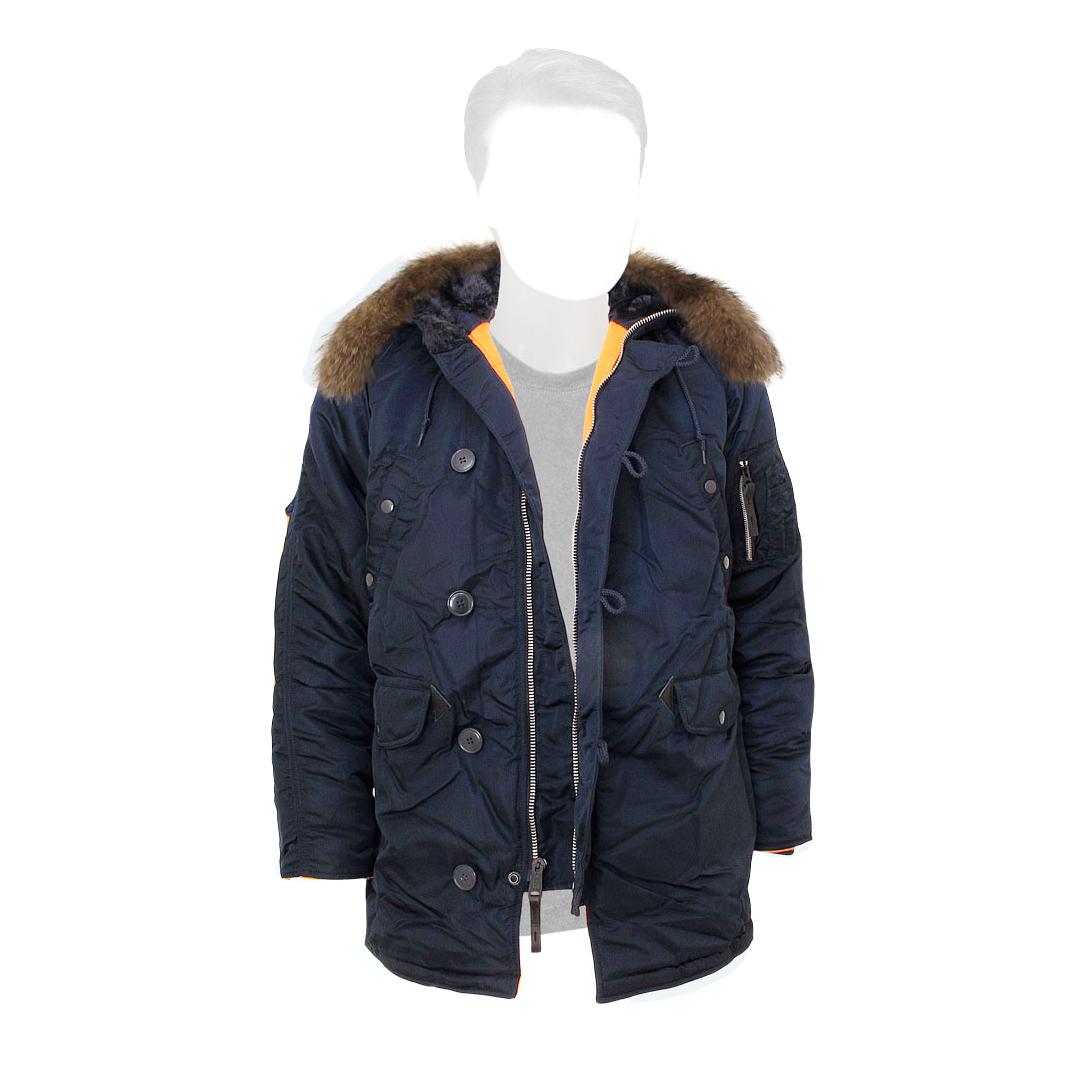 Куртка Аляска Slim Fit N-3B RF натуральный мех (т. синяя - R.blue)