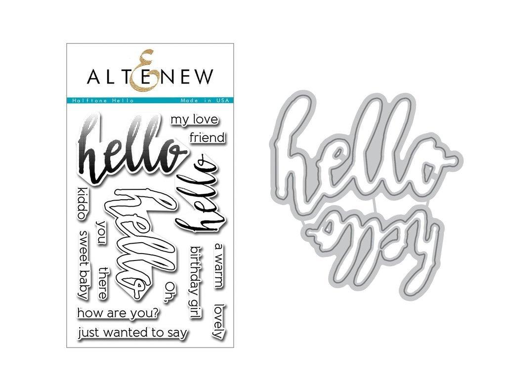 Набор штампов + НОЖИ  Halftone Hello Bundle Stamp & Die Bundle