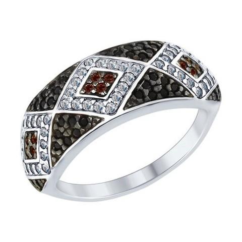 94012573- Кольцо из серебра с черно-белыми фианитами
