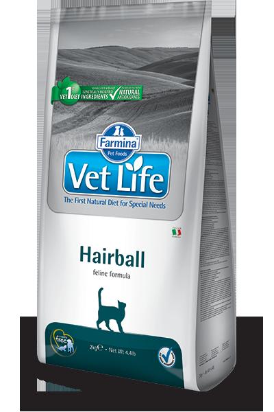 Сухой корм Ветеринарный корм для кошек, FARMINA Vet Life Hairball, для выведения комочков шерсти из кишечника farmina-vet-life-feline-hairball_web.png