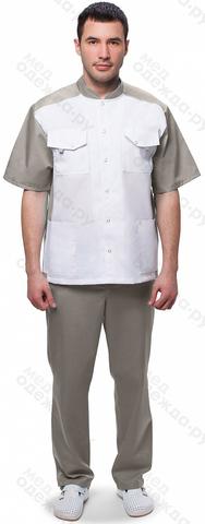 Костюм м.703 мужской цв.белый/серый