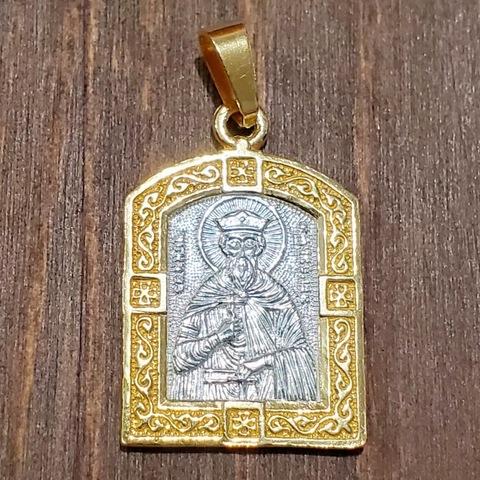 Нательная именная икона святой Борис с позолотой кулон медальон с молитвой
