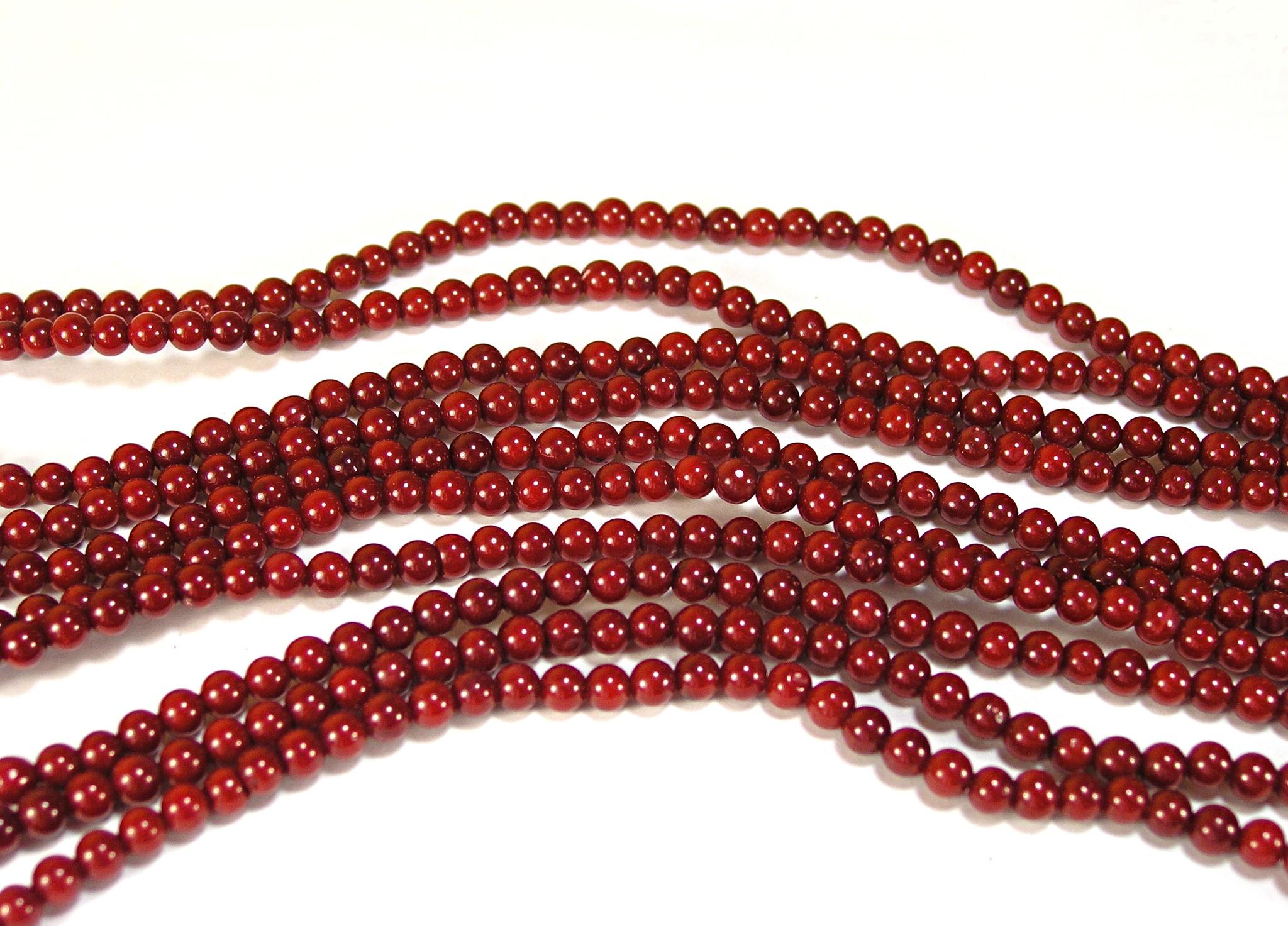 Нить бусин из коралла красного, облагороженного, шар гладкий 4мм