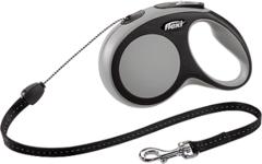 Поводок-рулетка Flexi New Comfort S (до 12 кг) трос 5 м черный/серый