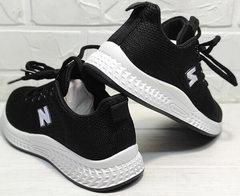 Чёрные кроссовки с белой подошвой женские Fashion Leisure QQ116.
