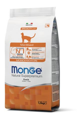 Купить Monge Cat Monoprotein Sterilised Duck корм для стерилизованных кошек с уткой 1,5 кг