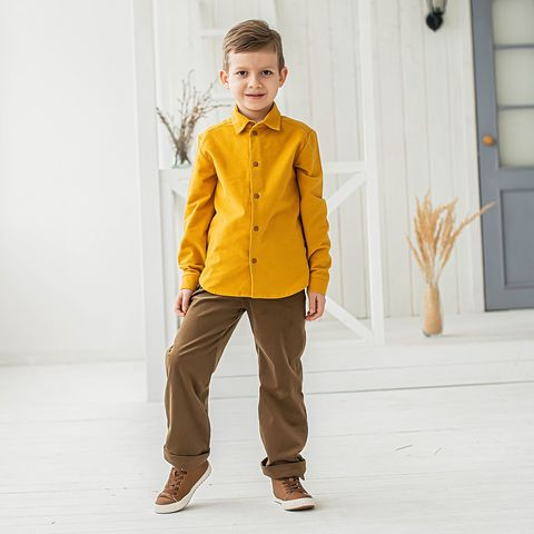 Corduroy trousers with cotton lining for teens - Cinnamon