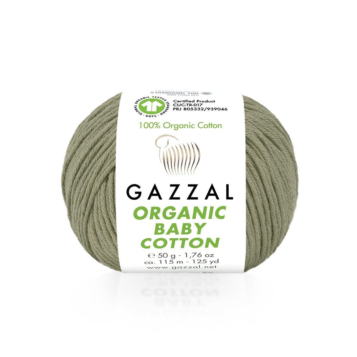 Пряжа Gazzal Organic Baby Cotton 431 оливковый