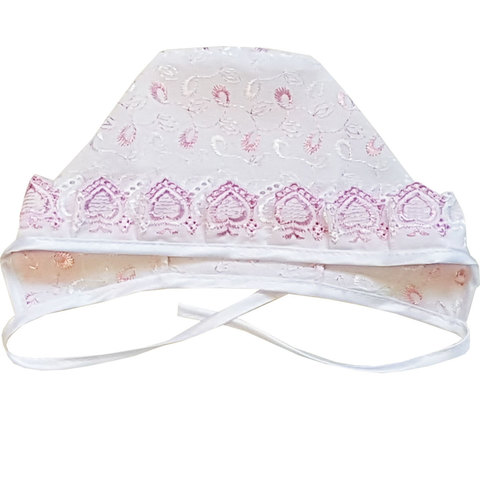 Папитто. Чепчик для новорожденного кружевной с шитьем