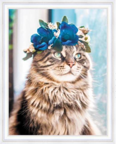 Алмазная Мозаика 40x50 Кошка в цветочном венке (арт. HWSA5140)