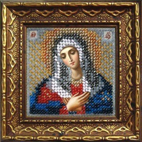 Тема: Религия, иконы, святые¶Техника: Вышивание бисером¶Размер: 6,5х6,5см (в рамке10,5х10,5 см)¶Осно