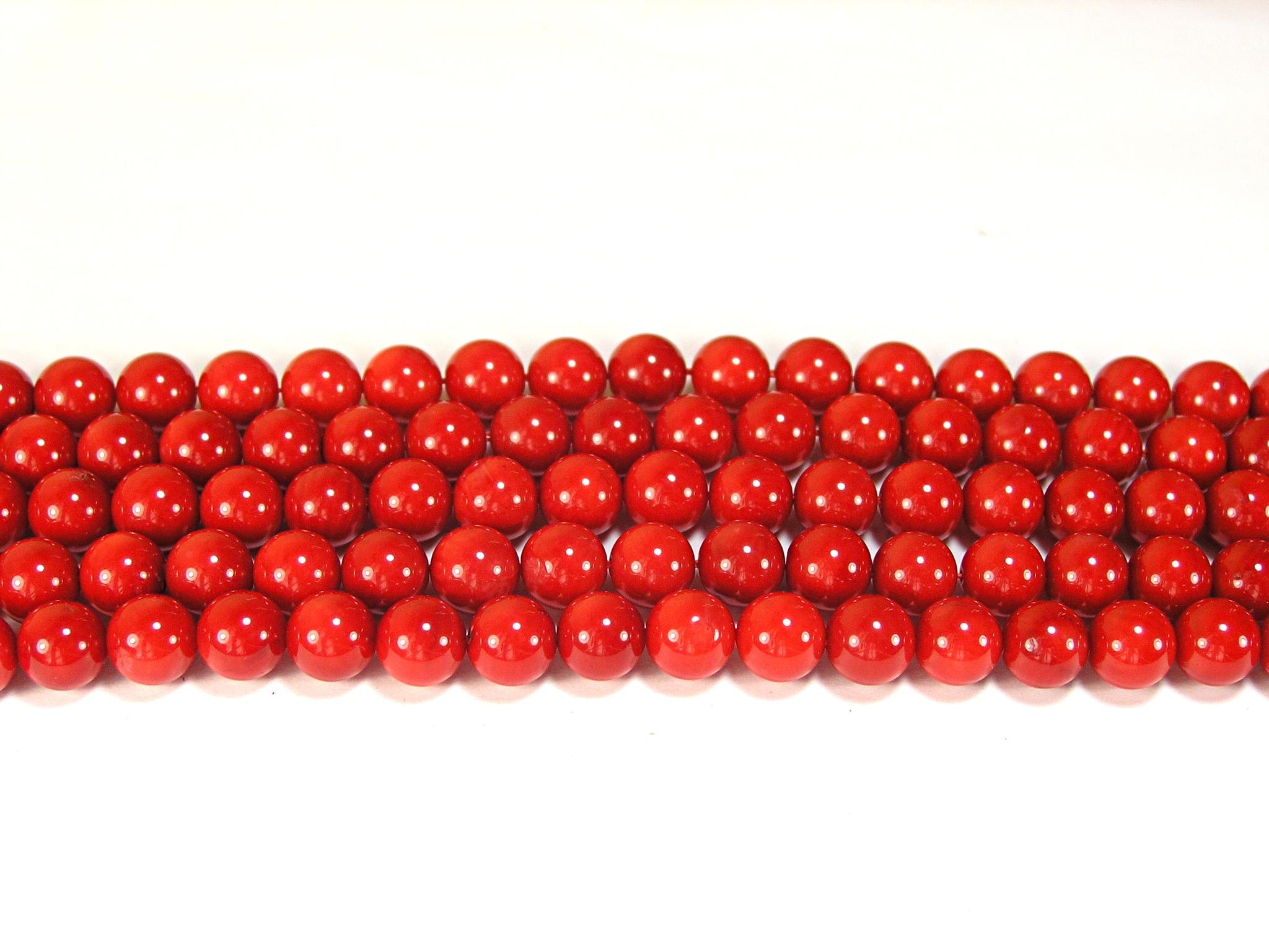Нить бусин из коралла красного, облагороженного, шар гладкий 8мм