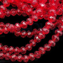 Бусины рондели Light Siam светло-красные купить оптом в интернет-магазине