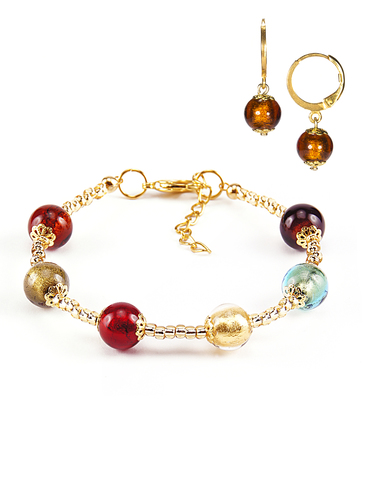 Комплект Carnavale Oro (браслет и серьги Piccolo янтарно-бронзовые)