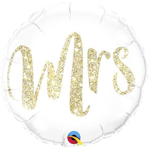 Воздушный шар Круг с надписью Mrs, глиттер, золото, 46 см