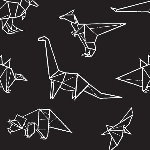 Дино оригами на черном