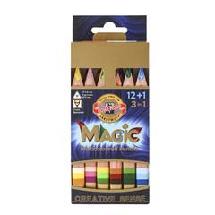 Набор 12 утолщенных многоцветных карандашей MAGIC, 1 карандаш-блендер, точилка и ластик в картонной коробке.