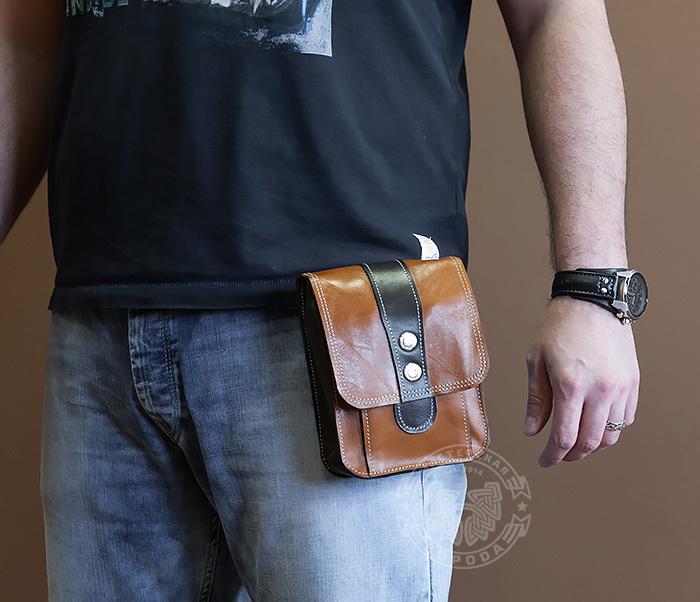 BAG379-2 Мужская кожаная сумка на пояс коричневого цвета, ручная работа фото 09