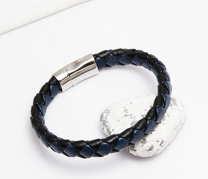 BM447-3 Мужской браслет из кожи черного и синего цветов (21 см)