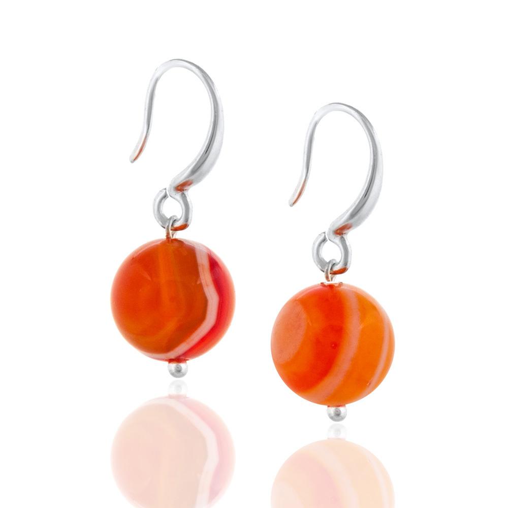 Серьги из оранжевого агата