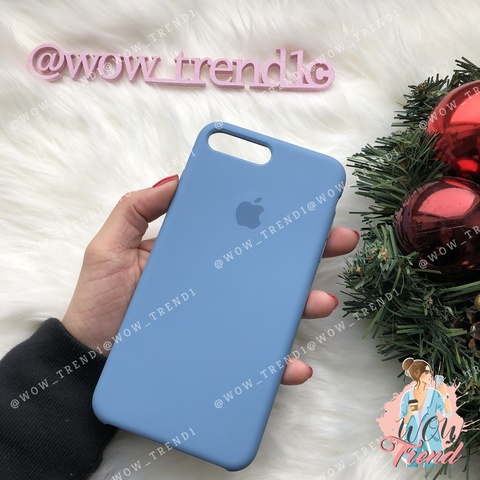 Чехол iPhone 7+/8+ Silicone Case /azure/ джинс 1:1
