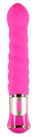 Ярко-розовый спиралевидный вибратор - 21 см.