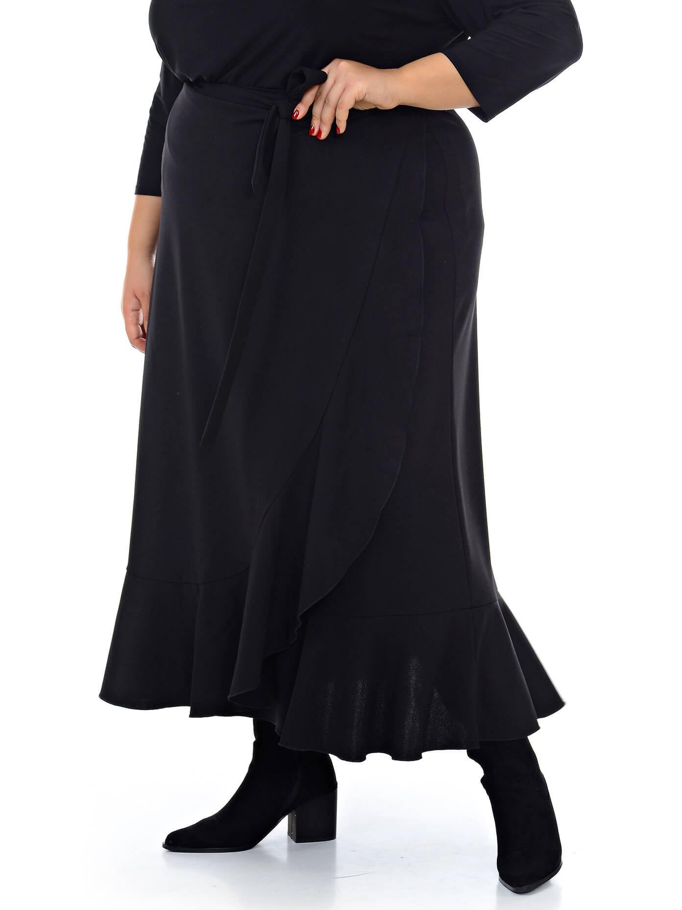 Юбка с воланом чёрная