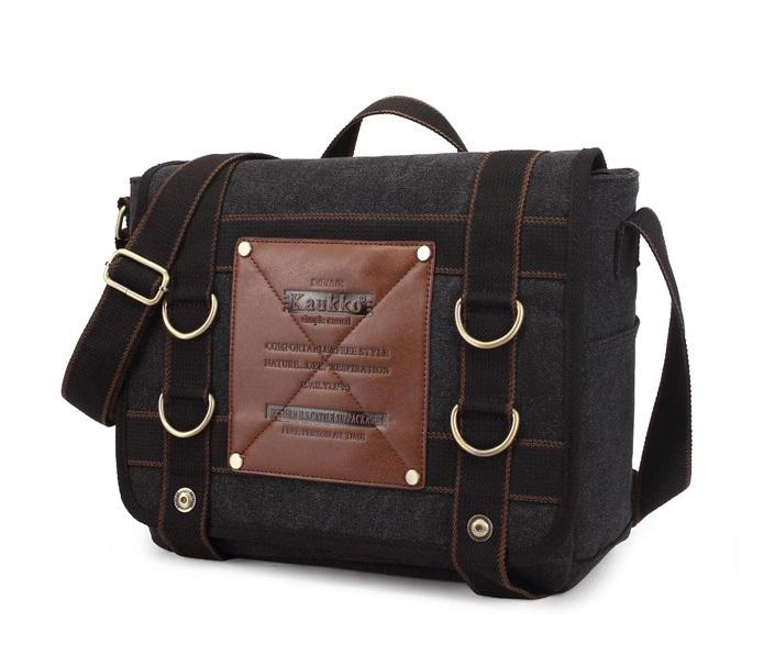 BAG390-1 Удобный мужской портфель из ткани черного цвета с ремнем на плечо (вмещает А4)