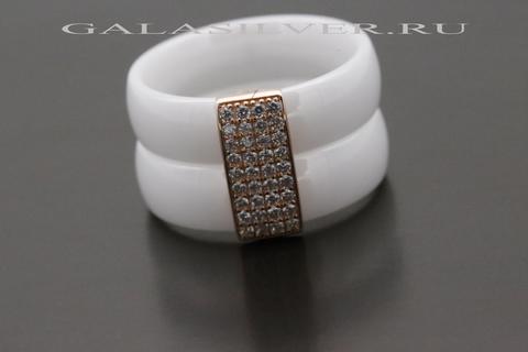 Кольцо с керамикой и фианитом из серебра 925