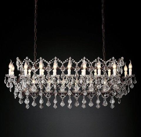 Подвесной светильник копия 19th C. Rococo Iron & Clear Crystal Rectangular Chandelier 51