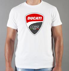 Футболка с принтом Ducati (Дукати) белая 001
