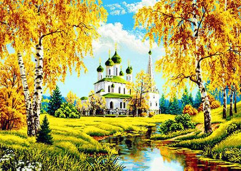 Алмазная Мозаика 30x40 Храм у ручья (арт. ZX10141 )