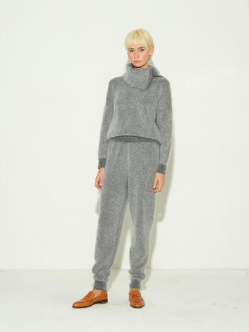 Женские брюки серого цвета из мохера и кашемира - фото 3