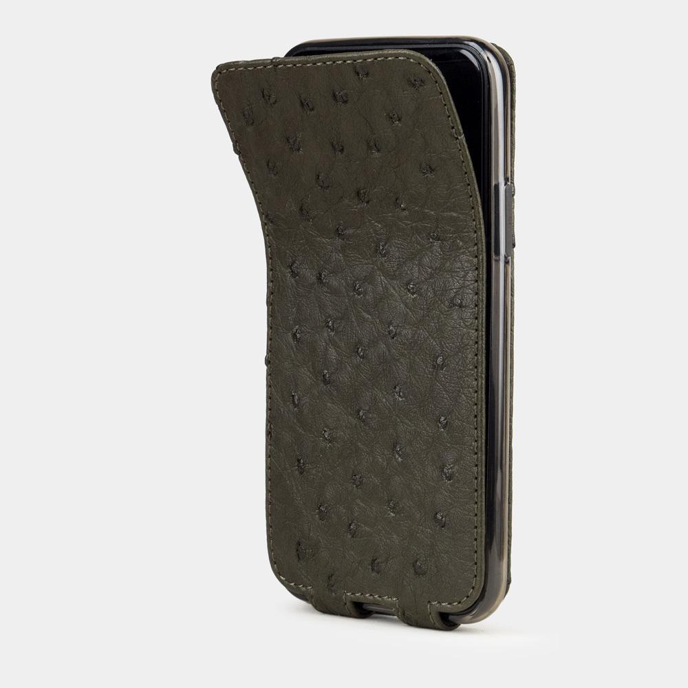 Чехол для iPhone 11 Pro из натуральной кожи страуса, цвета зеленого