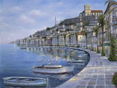 Алмазная Мозаика + Багет 30x40 Лодки у городской пристани (арт. DA-0941)