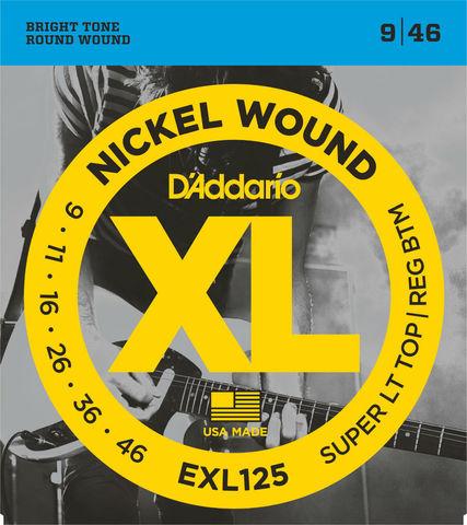 D`ADDARIO EXL125 NICKEL WOUND SUPER LIGHT TOP/ REGULAR BOTTOM 9-46
