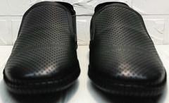 Кожаные мокасины мужские туфли лето street casual Ridge Z-291-80 All Black.