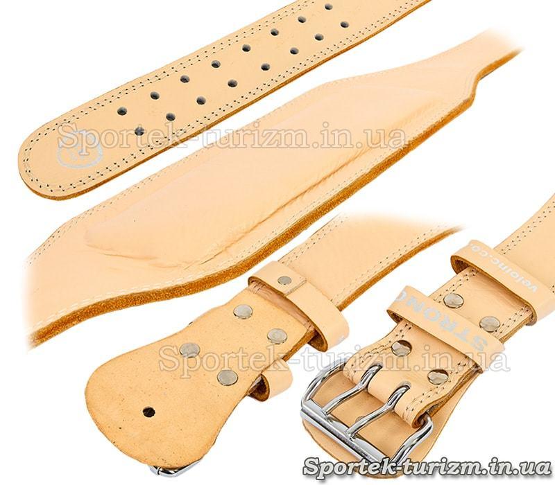 Кожаный атлетический пояс VELO с подкладкой для спины
